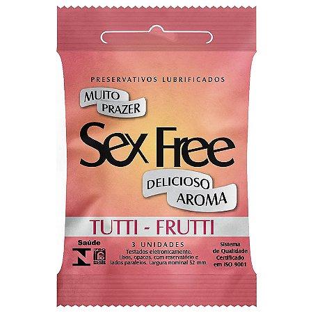 Preservativo Lubrificado Sex Free - Aroma Tutti - Frutti com 3 unidades