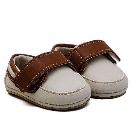 Sapato Masculino Infantil com Velcro Santa Fé -  Off - White com Chocolate