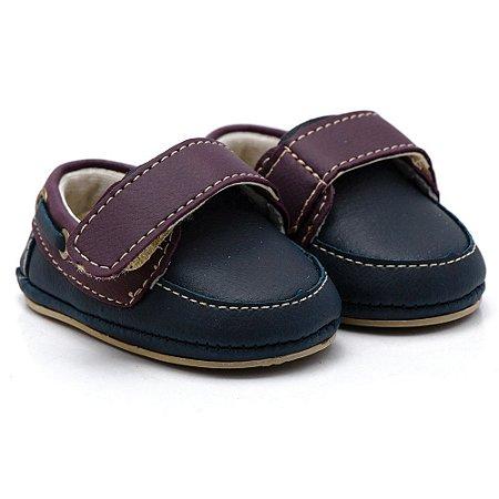 Sapato Masculino Infantil com Velcro Santa Fé -  Azul Marinho com Bordo