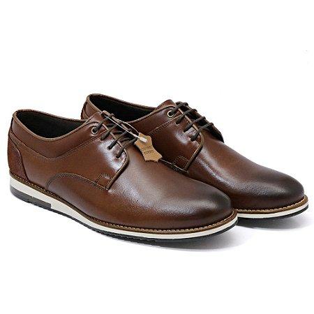 Sapato Casual Masculino em Couro Bovino Alta Classificação (Café) Com Cadarço