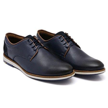 Sapato Casual Masculino em Couro Bovino Alta Classificação (Marinho) Com Cadarço