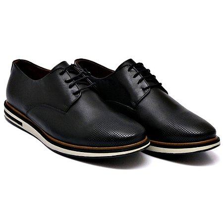 Sapato Casual Masculino em Couro Bovino Alta Classificação (Preto) Com Cadarço