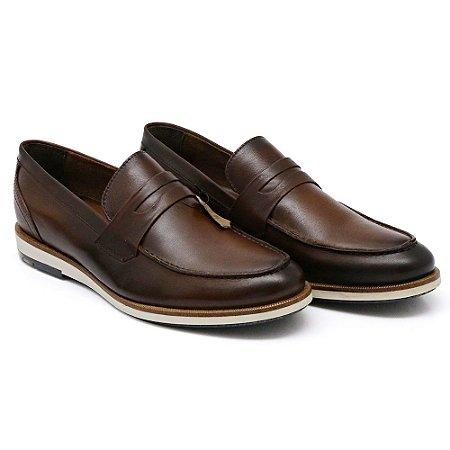 Sapato Casual Masculino em Couro Bovino Alta Classificação (Café Gravata)