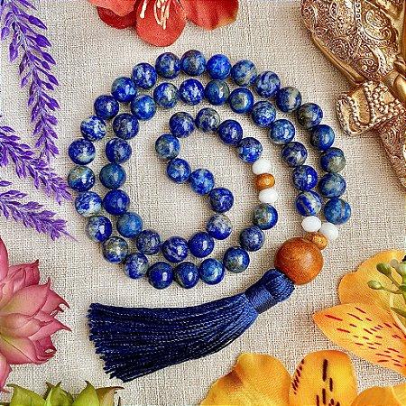 Japamala 54 contas de Lápis Lazúli para Força e Evolução Espiritual, Equilíbrio das Emoções e Proteção contra Ataques Psíquicos