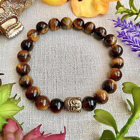 Pulseira de Pedra Natural Olho de Tigre - Afastar Energia Negativa, Prosperidade e Equilíbrio das Energias Yin e Yang