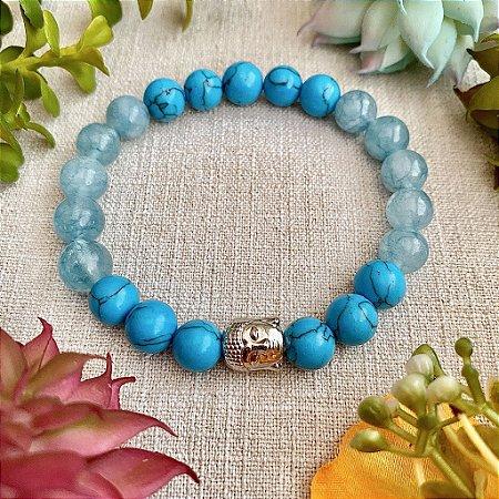 Pulseira de Jade Azul e Turquesa para Boa Sorte, Atrair Felicidade, Proteção e Paz Interior