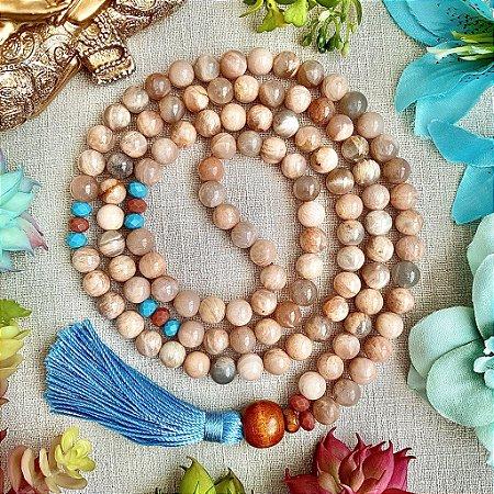 Japamala 108 contas de Pedra da Lua para Expansão da Consciência, Elevação Espiritual e Desenvolvimento das Capacidades Mediúnicas