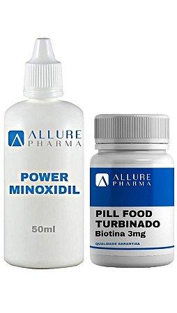 Kit Crescimento da Barba: 1 Power Minoxidil 50ml + 1 Pill Food Turbinado - 60 cápsulas