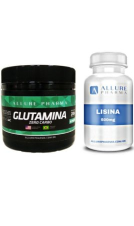 Kit Aumento da Imunidade - 1 Glutamina 200g + 1 Lisina 500mg - 30 cápsulas