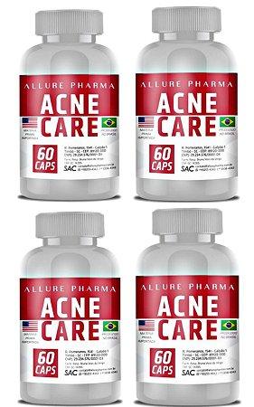 VANTAGEM EM DOBRO - KIT 4 Frascos Acne Care - 60 cápsulas (TOTAL 240 CÁPSULAS) - Tratamento para Acne e Pele Oleosa (Sem efeitos colaterais) * COMPRE 2 E GANHE 4 *