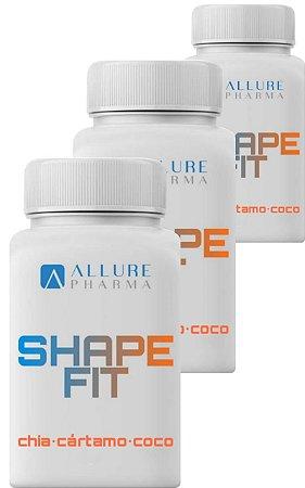 Kit 3 frascos SHAPE FIT - 180 cápsulas. Óleo de cártamo, chia e coco (ômega 3,6,9), Vit. E, picolinato de cromo.