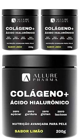 Kit 3 Potes Colágeno Hidrolisado + Ácido Hialurônico 200g - Sabor Limão