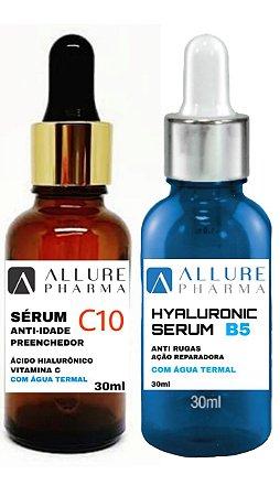 Kit Sérum Allure Pharma - 1 Frasco Sérum com Ácido Hialurônico - 30ml + 1 Frasco Sérum C10 Anti-Idade Preenchedor - 30ml