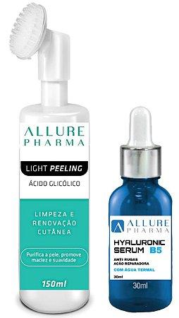 Kit Facial - Limpeza e Hidratação. 1 Frasco Sérum com Ácido Hialurônico - 30ml + 1 Frasco Mousse Facial Light Peeling - 150ml