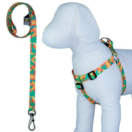 Peitoral Cachorro Ajustável com Guia Estampa Califórnia