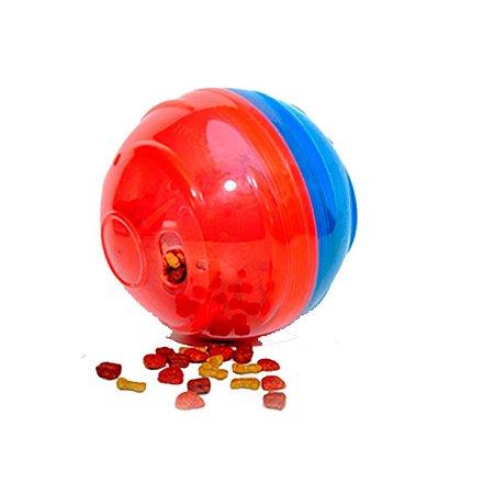 Brinquedo Cachorro Bola Porta Petisco Petball Vermelho Azul