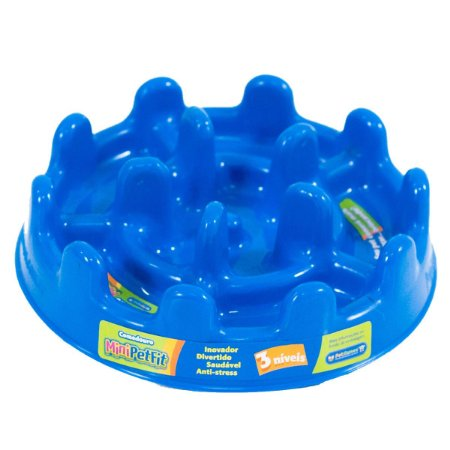 Comedouro Cachorro Atóxico Anti Stress Fitness Azul