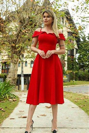 Vestido Midi Aisha Vermelho