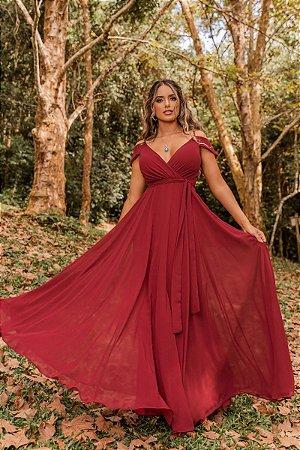 Vestido Riahana Marsala