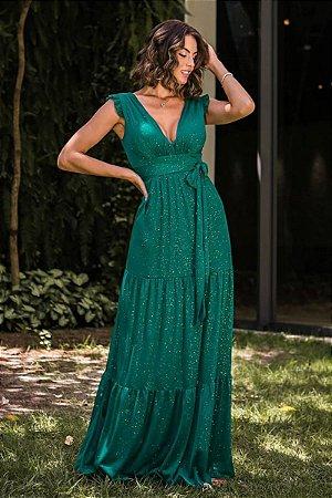 Vestido Rita Lurex Verde Esmeralda