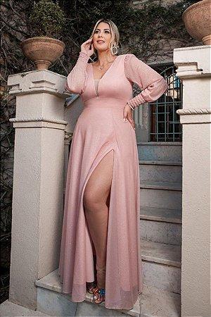 Vestido Scarlet Lurex Rosa Plus Size