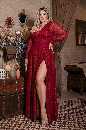 Vestido Scarlet Lurex Marsala Plus Size