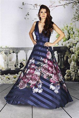 Vestido Beatriz  Floral Azul Marinho