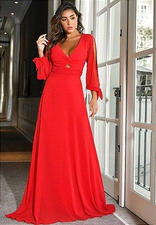 Vestido Manga Vazada Vermelho