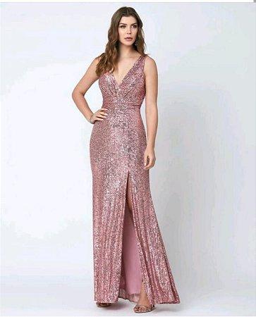 Vestido Paetê Rosa