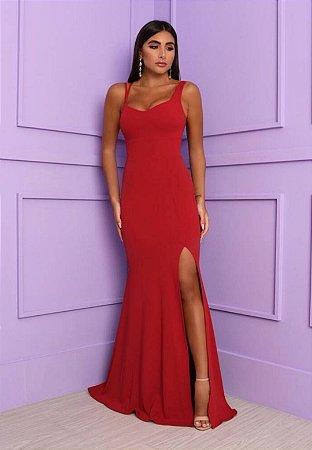 Vestido Det Alça Vermelho