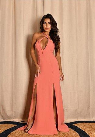Vestido Decote V Coral
