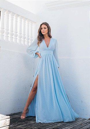 Vestido Fabiola Pontos de Brilho Azul Serenity