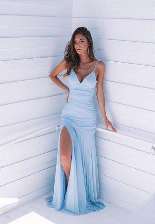Vestido Hollywood Lurex Azul Serenity