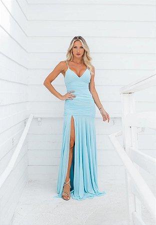 Vestido Hollywood Microtule Azul Serenity