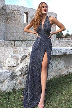 Vestido Mil Formas Lurex Azul Marinho
