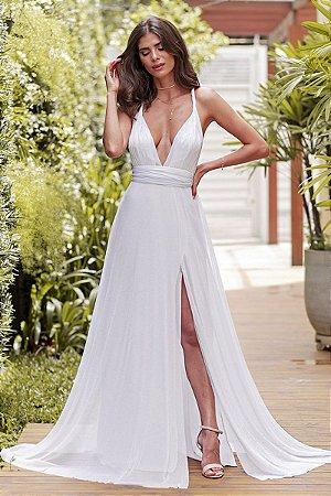 Vestido Mil Formas Lurex Branco
