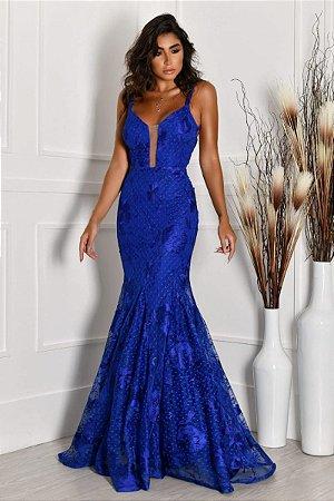 Vestido Det Costas Azul Royal