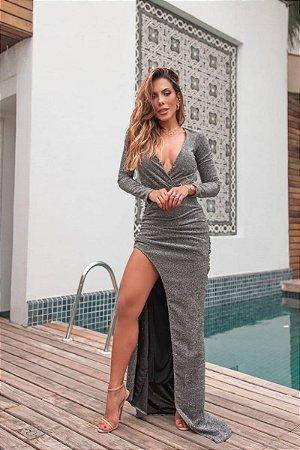 Vestido Leila Lurex Preto