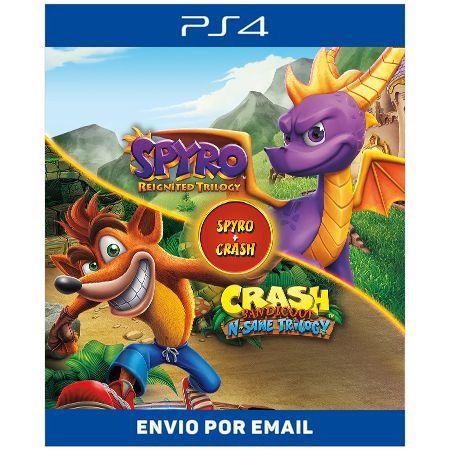 Pacote de jogo Spyro + Crash Remastered - Ps4 Digital