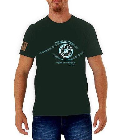 """Abram os olhos"" Camiseta verde"