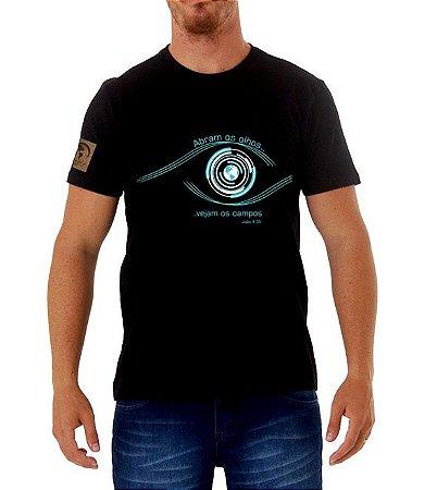 """""""Abram os olhos"""" Camiseta preta"""