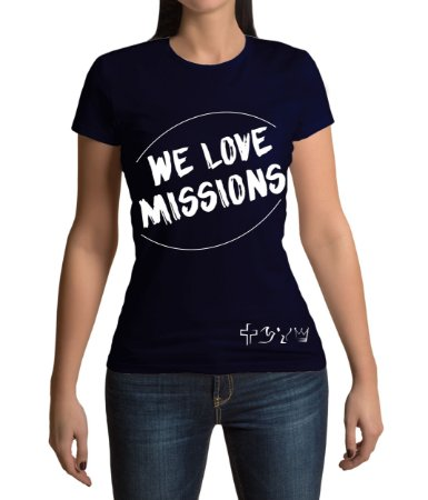 """We love Missions"" - Baby look azul marinho"