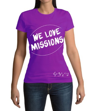 """We love Missions"" - Baby look roxa"