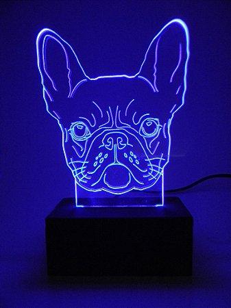 Luminária de acrílico - BullDog Francês ( Várias cores )