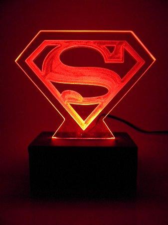 Luminária de acrílico -  Superman - Vermelho