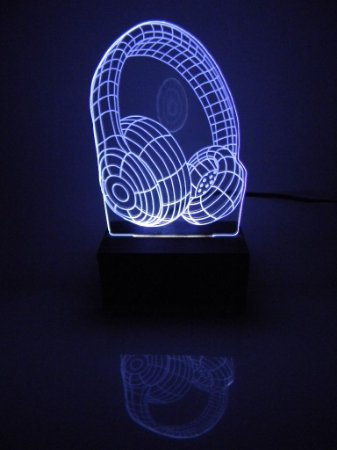 Luminária de acrílico - Fone de ouvido 3D - Branco