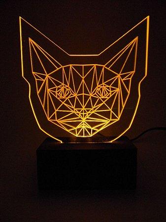 Luminária de acrílico - Cabeça de Gato Cat - Amarelo