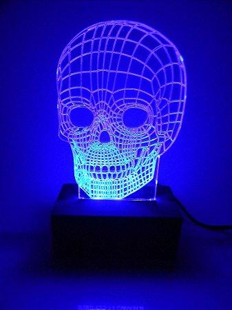 Luminária de acrílico - Crânio 3D - Amarela