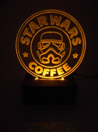 Luminária de acrílico -  Star Wars Coffee - Amarelo