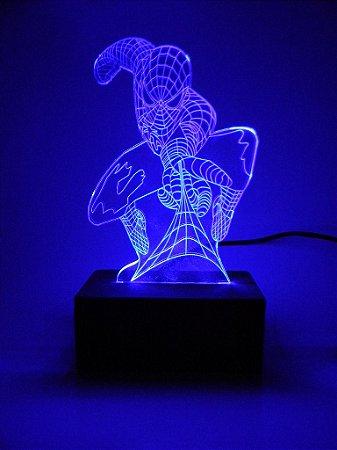 Luminária de acrílico - Homem Aranha - Azul